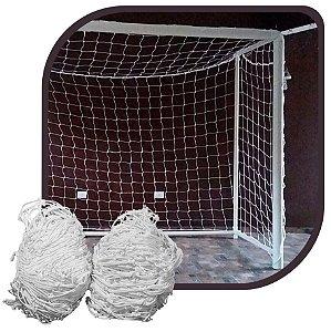 Par de Rede para Trave de Gol Futsal Caixote Fio 6mm Nylon Futebol de Salão