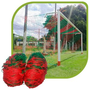 Par de Rede para Trave de Gol Futsal Sob Medida Duas Cores Fio 4mm Nylon