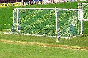 Par Rede Gol Futebol de Campo Sob Medida Duas Cores Fio 4mm Nylon