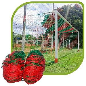 Par de Rede para Trave de Gol Futebol de Campo Sob Medida Duas Cores Fio 4mm Nylon