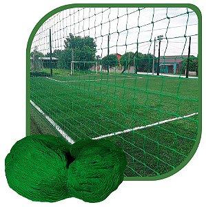 Rede de Proteção Esportiva Para Campo/Quadra de Futsal, Futebol, Society 5x20m Fio 4 Malha 12cm Verde