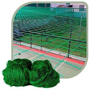 Rede de Proteção Esportiva Para Campo/Quadra de Futsal, Futebol, Society 15x30m Fio 2 Malha 12cm Verde