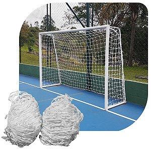 Par de Rede para Trave de Gol Futsal Fio 6mm Nylon Futebol de Salão