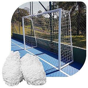 Par de Rede para Trave de Gol Futsal Fio 2mm Nylon Futebol de Salão