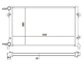 Radiador Jetta 2.5 L5 ( 05 > ) com / sem Ar / Automatico / Manual / Aluminio Brasado - CFB2995126