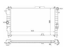 Radiador Vectra ( 93 - 96 ) 2.0 8V / 16V / Calibra ( 90 > ) com Ar / Manual / Aluminio Brasado - CFB4360126