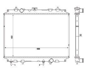 Radiador L200 HPE 2.5 TD ( 03 > ) com Ar / Automatico / Manual / Aluminio Brasado - CFB20576132