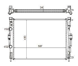 Radiador Megane 1.6 / 2.0 ( 06 > ) com / sem Ar / Automatico / Manual / Aluminio Mecanico - CFB4617534