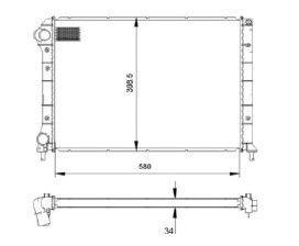 Radiador Doblo 1.3 / 1.4 com Ar / 1.6 16V / 1.8 ( 01 > ) com / sem Ar / Manual / Aluminio Brasado - CFB22208534