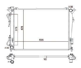 Radiador Azera 3.3 V6 ( 07 - 11 ) com / sem Ar / Automatico / Manual / Aluminio Brasado - CFB2831116