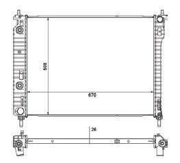 Radiador Captiva 2.4 16V / 3.6 V6 24V ( 08 > ) com Ar / Automatico / Manual / Aluminio Brasado - CFB20549126