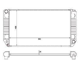 Radiador Grand Blazer / Silverado 6.1 Diesel ( 97 - 00 ) com Ar / Manual / Aluminio Brasado - CFB20634126