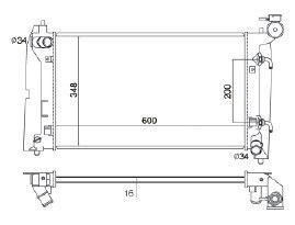 Radiador Corolla 1.6 / 1.8 16V ( 02 - 08 ) com / sem Ar / Automatico / Mecanico Tec. Ab - CFB2428116