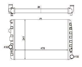 Radiador Gol / Parati / Saveiro 1.0 8V / 16V Mi ( 97 - 08 ) G2 / G3 / G4 com Ar / Manual / Aluminio Brasado - CFB7067126
