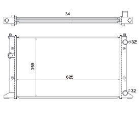 Radiador Golf 1.8 / 2.0 ( 94 - 98 ) Mexicano com / sem Ar / Manual / Aluminio Mecanico - CFB5180534