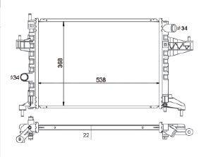 Radiador Corsa ( 03 > ) / Montana ( 03 - 09 ) 1.4 / 1.8 com Ar / Manual / Aluminio Brasado - CFB4313126