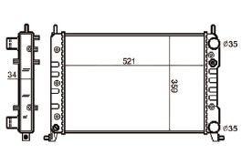 Radiador Palio / Siena / Strada 1.3 / 1.6 16V Fire ( > 00 ) com / sem Ar 1.0 / 1.3 / 1.5 ( 96 > ) com Ar Def. Parafuso com / sem Ar / Manual / Aluminio Mecanico - CFB3592534