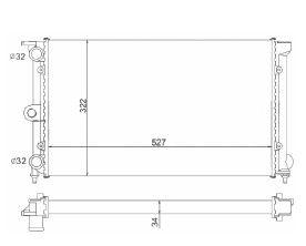 Radiador Santana / Quantum 1.8 / 2.0 ( > 90 ) sem Ar / Manual / Aluminio Mecanico - CFB7044534