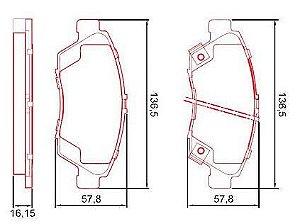 Pastilha de Freio Dianteira Civic 1.6 16V / VTEC Coupe / VTI 91 / 97 CRX 1.6I / CRX 16V Esi / VTI 92 / ... com Alarme com Anti Ruido ( Ferodo ) - CHQF2150AC