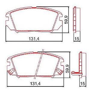 Pastilha de Freio Dianteira Azera V6 3.0L 24V 12 / ... Sonata V6 3.3L ( 24 ) DOHC 06 / 09 com Alarme com Anti Ruido ( Ferodo ) - CHQF2268AC