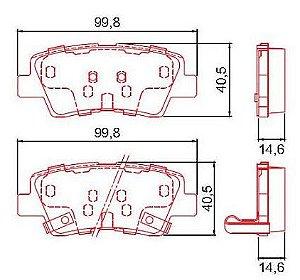 Pastilha de Freio Traseira Azera V6 3.0 24V 12 / ... I30 1.6 16V com Alarme com Anti Ruido ( Ferodo ) - CHQF2313AC