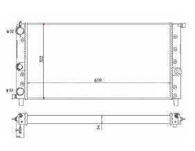 Radiador Uno / Fiorino / Prêmio 1.0 com Ar / sem Vaso ou 1.5 / 1.6 sem Ar ( 99 - 00 ) Argentino / Manual / Aluminio Mecanico - CFB7014534