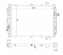 Radiador Gol / Parati / Saveiro 1.0 / 1.6 / 1.8 ( 87 - 94 ) AP sem Ar / Manual / Aluminio Mecanico - CFB7194523