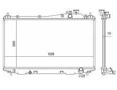 Radiador Civic 1.7 16V ( 01 - 05 ) com Ar / Manual / Aluminio Brasado - CFB2355116