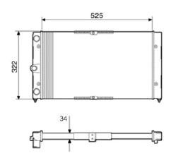 Radiador Santana / Quantum 1.8 / 2.0 ( 96 > ) sem Ar / Manual / Aluminio Mecanico - CFB22506534