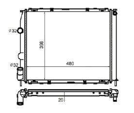 Radiador Kangoo 1.6 ( 00 > ) com Tubete com / sem Ar / Manual / Aluminio Brasado - CFB4701126