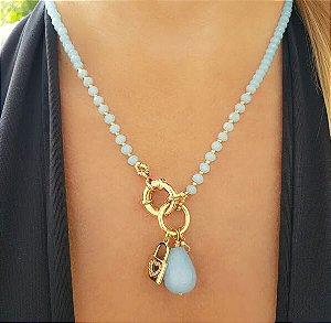Colar Cristal Azul Claro, Gota, Cadeado Coração e Ponto de Zircônia