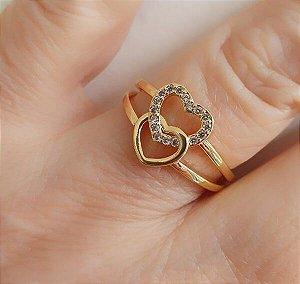 Anel Coração Duplo banhado à Ouro 18k