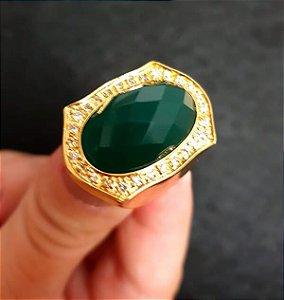 Anel Pedra Verde Ouro 18k
