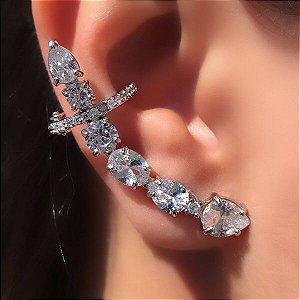 Ear Cuff Maxi com Pressão Cristal