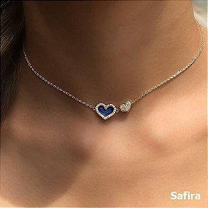 Choker Coração Azul