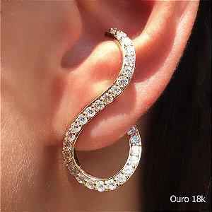 Ear Cuff Zircônia Ouro 18k