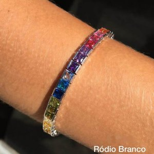 Pulseira Riviera Colorida Rhodium