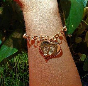 Pulseira Coração Pegada Ouro 18k