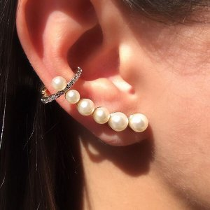 Brinco Ear Cuff Maxi Pérolas