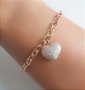 Pulseira Elos com Coração Cravejado Ouro Rosê