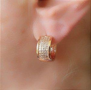 Argola Pequena Cravejada Ouro Rosê