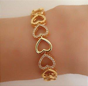 Bracelete Corações banhado à Ouro 18k