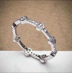 Anel de Corações Pequenos banhado Ródio Branco