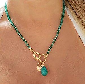 Colar Cristal Verde Esmeralda, Gota, Cadeado Coração e Ponto de Zircônia