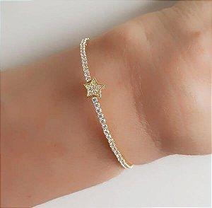 Bracelete Riviera com Estrela Cravejada