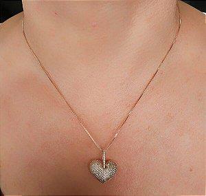 Colar Pingente de Coração Cravejado banhado Ouro Rosê