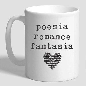 Caneca Literária Contém Poesia, Romance e Fantasia