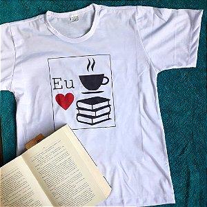 Camiseta Café e Livro