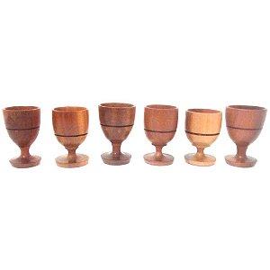 Conjunto com 6 Mini Taças de Madeira Artesanais