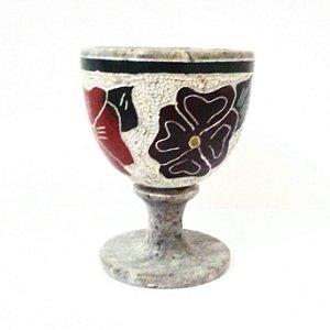 Taça de Vinho de Pedra Sabão Bordada 180ml